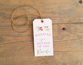 Pink & Gold Reserved Seat Sign, Wedding Seat Sign, Wedding Reserve Seat, Wedding Seating, ceremony decor, reserved wedding chair sign