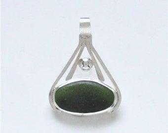 Sea Glass Jewelry - Sterling Dark Green Sea Glass Pendant