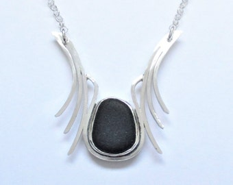 Sea Glass Jewelry - Sterling Rare Black English Sea Glass Necklace