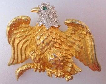 XMAS SALE Vintage Bald Eagle Rhinestone Brooch Signed S.I. Costume Jewelry Jewellery