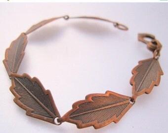 SALE Now On Ends 4/3/17 Vintage Solid Copper Leaf Link Bracelet Jewelry Jewellery