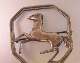 SALE ON Ends 4/30 Vintage 1940's Horse Brooch Pin Sterling Silver Fine Jewelry Jewellery