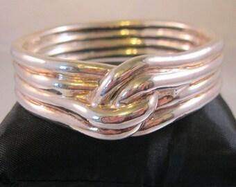 Designer Hollow Tube Knotted Sterling Silver Wide Bangle Bracelet