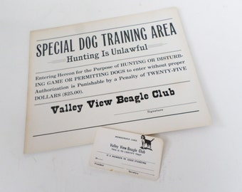 Vintage Beagle Sign, Beagle Dog Training sign, Beagle Club Membership Card, Beagle Lover Gift, Dog Training Ephemera, Dog Club Sign
