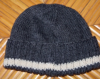 Hand knitted watch cap - dark gray with cream stripe, will fit child or adult, completely washable