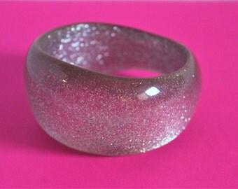 1960s Chunky Asymmetrical Silver Glitter Acrylic Bangle Bracelet