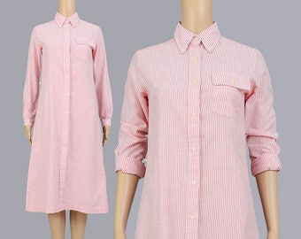 Vintage 70s Striped Shirt Dress | Collared Oxford Cotton Button Up | Long Sleeve Preppy Midi Dress | White Red | Extra Small XS S