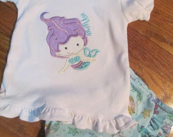 Mermaid Birthday Shirt and Ruffled Shorts Set  Mermaid Birthday Shirt  Girls Mermaid Birthday Set