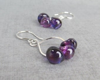 Grape Purple Earrings, Beaded Dangle Earrings, Purple Lampwork Earrings, Purple Glass Drop Earrings, Sterling Silver Earrings, Silver Wire