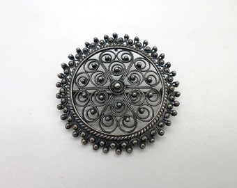 Sterling Silver Filigree Pin or Pendant Dark Patina