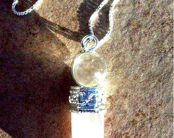 "LOVE STONE Rose quartz & quartz crystal necklace  "" Beauty and Light"", Sterling silver rose quartz necklace, love jewelry, love"