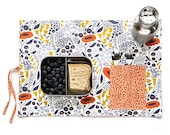 Flower placemat in orange and purple. Ecofriendly place mat for her. Cutlery travel bag.