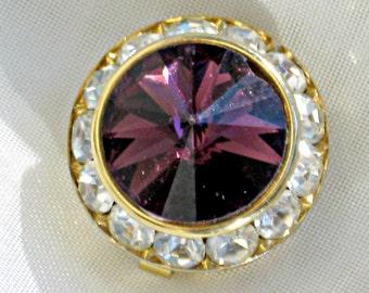 Button Cover Dark Purple Rivoli and White Crystal Rhinestones