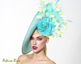 Aqua derby hat, Kentucky derby fascinator, derby hatinator, Couture derby hat