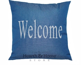 Sunbrella Large Welcome  Pillow , Outdoor Pillow, Wedding Pillow, Indoor Outdoor Pillow, Embroidered Sunbrella, Personalized Pillow