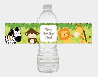 Jungle Safari Water Bottle Labels / Jungle Boy Baby Shower Favors / Print Your Own DIY file INSTANT DOWNLOAD / bs-015