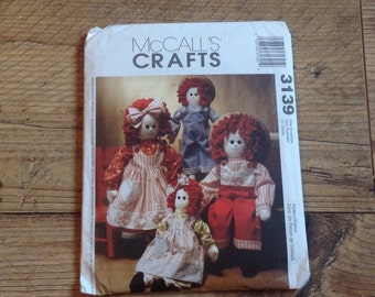 McCalls Crafts Sewing Pattern 3139, Rag Doll Sewing Pattern, Sewing Pattern Dolls and Dolls Clothes