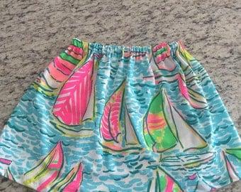 Handmade girls skirt with Lilly Pulitzer fabric in You Gotta Regatta Print