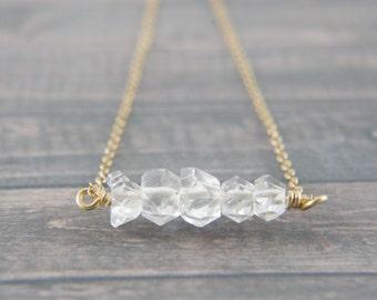 Herkimer diamond gold bar necklace, anniversary, wedding, bridesmaid, Valentine's Day, birthday, clear crystal, healing