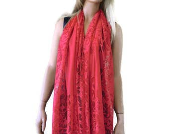 Flame red lace  scarf shawl-  Lace fringe  scarf-Sunset red lace shawl