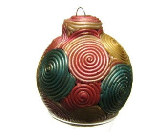 Filigree Ball Ornament, Red Green Gold, Polymer Clay Ball, Ombre Swirl, Holiday Decor, Christmas Ball, Ready to Ship