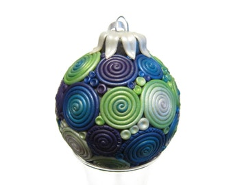 Polymer Clay Swirl Christmas Ornament, Ocean Ombre Swirl, Pearl White, Bright Green Ombre, Peacock Blue, Dark Purple, Holiday Decoration