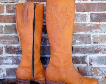 Vintage 60's Frye Zip Up Black Label Leather Boots 6.5 B