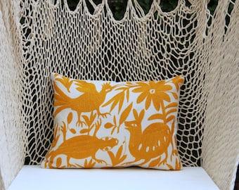 Yellow Orange Folk Art Pillow Sham-Otomi Embroidery Ready to ship.