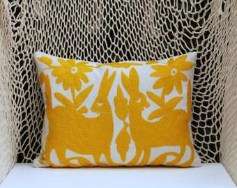 Yellow Folk Art Pillow Sham-Otomi Embroidery Ready to ship.
