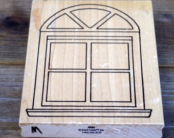 Arched Window Rubber Stamp, Wood Mounted Rubber Stamp,  Azadi Earles M591
