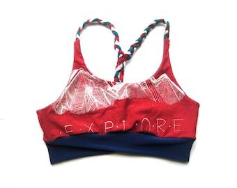 Pink Explore Bralette. Braided Sports Bra. Cute Yoga Bralette. Strappy Bralette. Pnw Bra. Flexible Sport Bralette. Mountains Sports Bra Blue