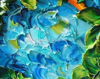 Teal Hydrangea, Impressionist ,  Original Oil painting, valentines gift