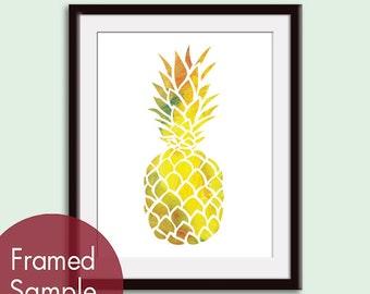 Island Impressions Pineapple - Art Print (Featured in Splashes of Orange, Green, Yellow) Tropical Island Art Decor Print / Poster