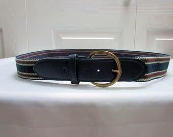 Vintage Mens Navy Blue Stripes Elastic Belt Size 42