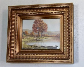 Country Scene In Molded Frame-Beautiful Scene With Glass-Vintage Decor Piece-Cottage Decor-Shabby Chic-Wall Decor-Art-Serene Lake Scene