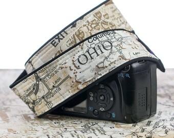 Map Camera Strap, Men's, Women's, dSLR, SLR, US,  Neck Strap, Canon camera strap, Nikon camera strap,  Pocket, Mirrorless, Photography 254
