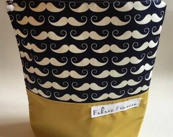 Project bag moustache yarn pouch zipper bag cute yarn bag crochet knitting project