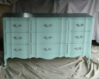 Dresser Low Boy French Provincial Serpentine Style Dresser Poppy Cottage Custom PAINT to ORDER Vintage Painted Furniture