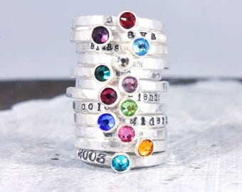 Fine silver birthstone ring - stacking ring - Mother's Day gift - stackable ring -birthstone jewelry - gift for mom - mother's ring - silver