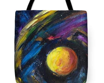 Tote bag Neounic Wave Space grocery bag Painting tote bag Shoulder bag Market shopping bag Astronomy Universe Planet Stars Galaxy tote bag