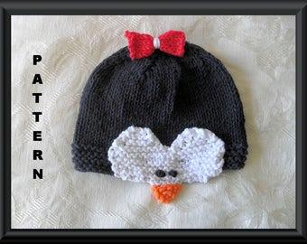 Knitted Hat Pattern Baby Hat Pattern Newborn Hat Pattern Infant Hat Pattern Penguin Baby Hat Pattern: PENGUIN
