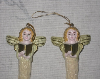 Pair of Vintage Angel Icicles Ornament, Christmas Tree Decor Decoration, Mid Century Holiday,