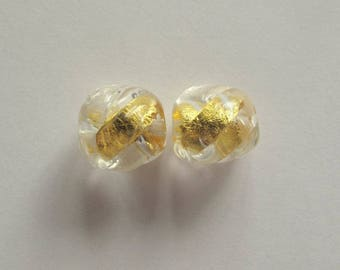 Vintage Pure Gold in Glass Beads, Murano Italy