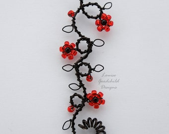 Gothic flower necklace, red and black wire pendant, goth pendant, nature inspired, red flowers, twisting vine necklace, climbing flowers