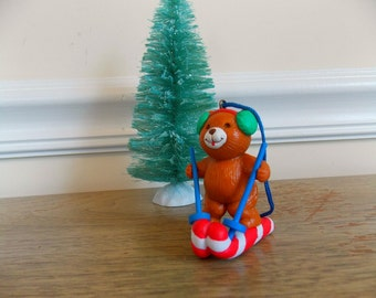 Vintage Avon Bear Ornament, Teddy Bear, Skis, Sking Bear, Stocking Stuffer, Vintage, Candy Cane, Christmas Ornament, Christmas Decoration