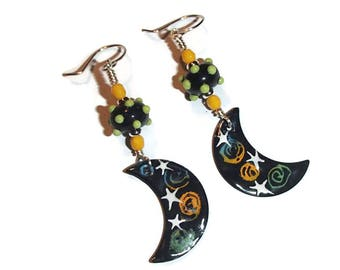 Moon Star Enamel Charm Earrings Enamel and Lampwork Earrings Boho Whimsical