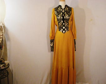 Reenactment Theatrical Costume Victorian Vintage Dress 1920s inspired Golden Yellow Long As Is M