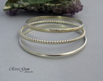 Sterling Silver Bangle Bracelet, Set of Three, Handmade by RiverGum Jewellery