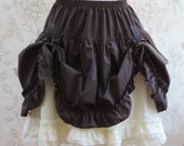 Steampunk skirt -steampunk clothing-pinstripes skirt-pirate skirt- explorer-brown off white skirt- country-western skirt