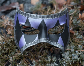 Masquerade Leather Mask Black and Purple Diamonds with Silver